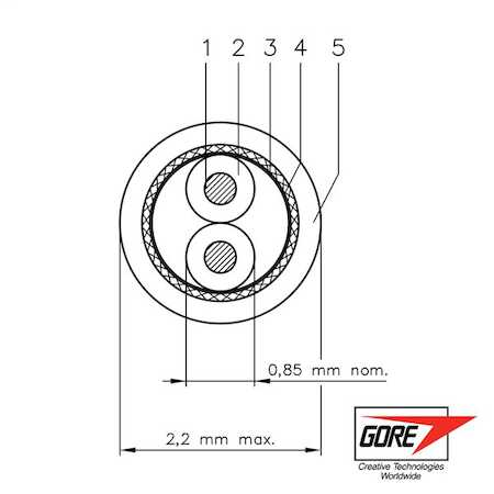 GSC-05-82292-00 GORE® Type GBL Space Cable, 30 gauge, silver-plated, high-strength copper and copper alloy conductor, expanded PTFE and/or PTFE dielectric, PFA outer jacket.