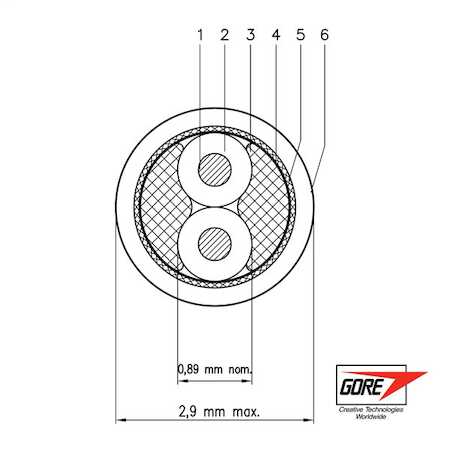 GSC-05-82560-00 GORE® Type GBL Space Cable, 28 gauge, silver-plated, high-strength copper and copper alloy conductor, expanded PTFE and/or PTFE dielectric, PFA outer jacket.