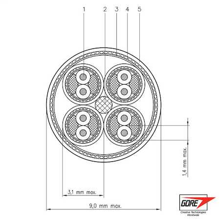 GSC-05-82730-00 GORE® Type SpaceWire Space Cable, 26 gauge, Sliver-plated, high-strength copper alloy conductor, expanded PTFE dielectric, PFA outer jacket.