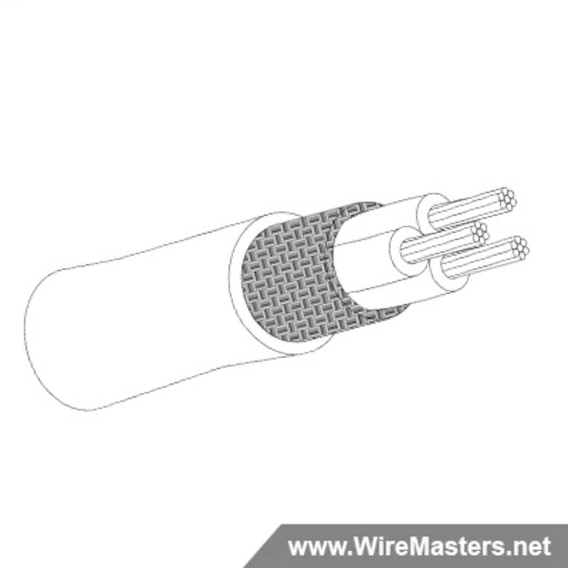 M27500A12LE3S20 is a 3 conductor cable with SILVER COATED Cu ROUND shielding and White PFA jacket with an M22759/9 inner conductor