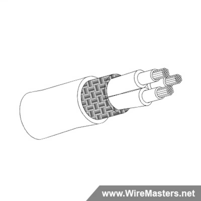 M27500-22ML3T08 is a 3 conductor cable with Tin coated round copper shielding and Cross-Linked Kynar jacket with an M81044/12 inner conductor