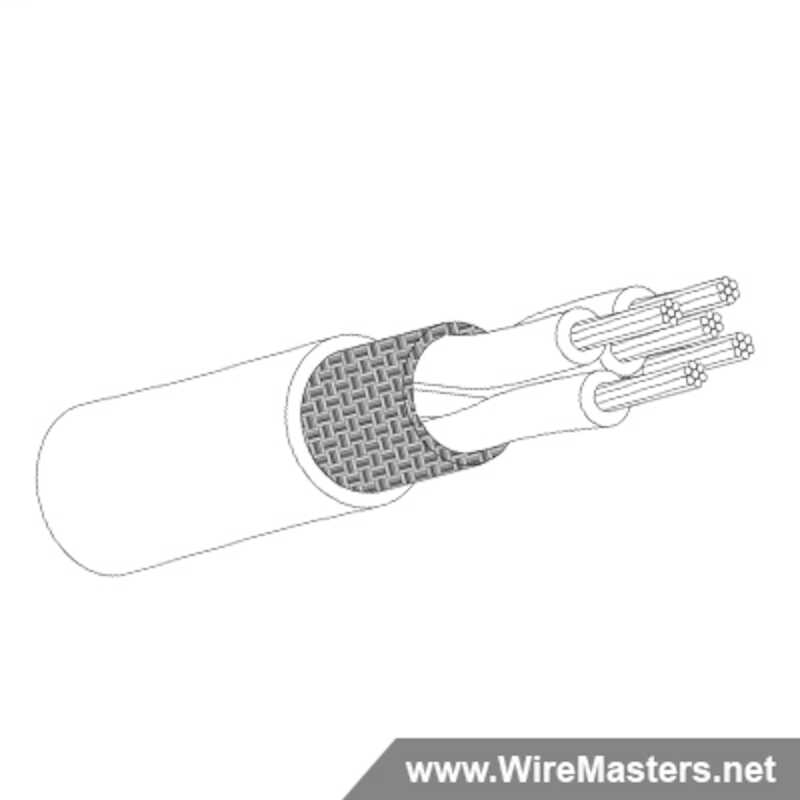 M27500-26RC5N06 is a 5 conductor cable with NICKEL COATED Cu ROUND shielding and Teflon jacket with an M22759/11 inner conductor