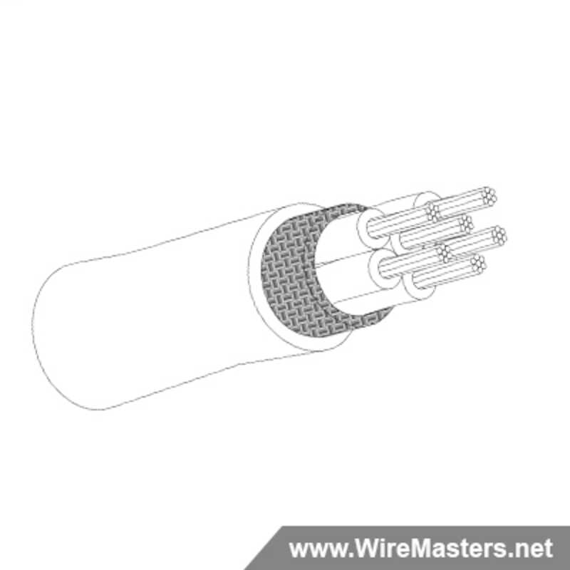 M27500-24RE6N06 is a 6 conductor cable with NICKEL COATED Cu ROUND shielding and Teflon jacket with an M22759/12 inner conductor