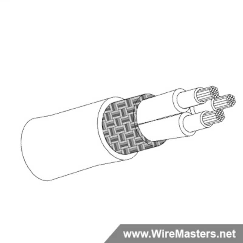 M27500-22SD3T23 is a 3 conductor cable with TIN COATED Cu ROUND shielding and Crosslinked Tefzel jacket with an M22759/34 inner conductor