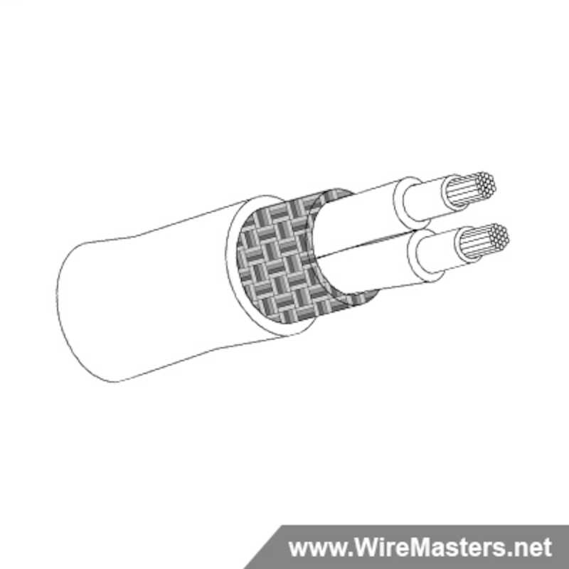 M27500-22SM2N23 is a 2 conductor cable with Nickel coated round copper shielding and Crosslinked Tefzel jacket with an M22759/41 inner conductor