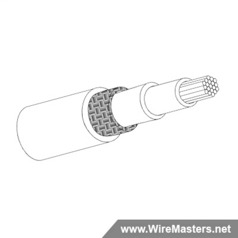 M27500-22SP1S23 is a 1 conductor cable with SILVER COATED Cu ROUND shielding and Crosslinked Tefzel jacket with an M22759/43 inner conductor