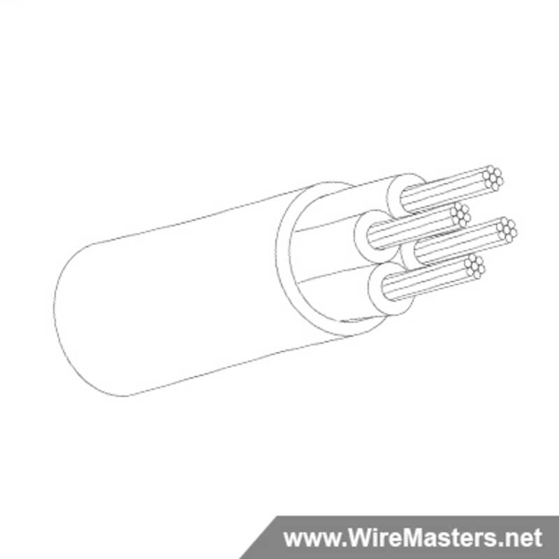 M27500A16TE4U14 is a 4 conductor cable with no shielding and Tefzel jacket with an M22759/16 inner conductor