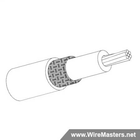 M27500-22TE1T14 is a 1 conductor cable with Tin coated round copper shielding and White Tefzel jacket with an M22759/16 inner conductor