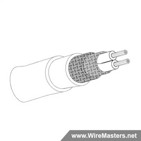 M27500-22TE2V64 is a 2 conductor cable with TIN COATED Cu ROUND shielding and White Tefzel jacket with an M22759/16 inner conductor