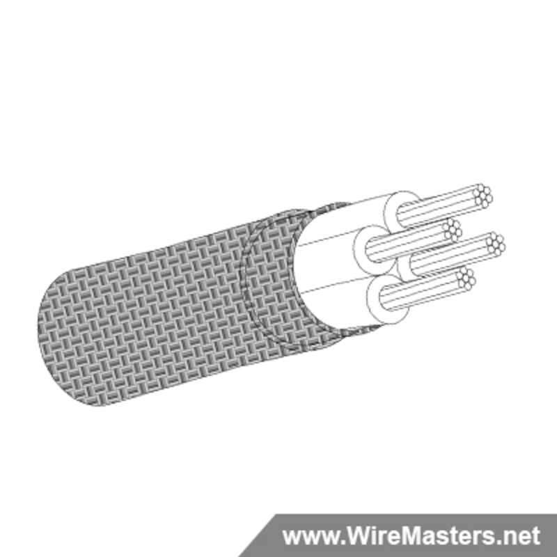 M27500-24TG4V14 is a 4 conductor cable with TIN COATED Cu ROUND shielding and Tefzel jacket with an M22759/18 inner conductor