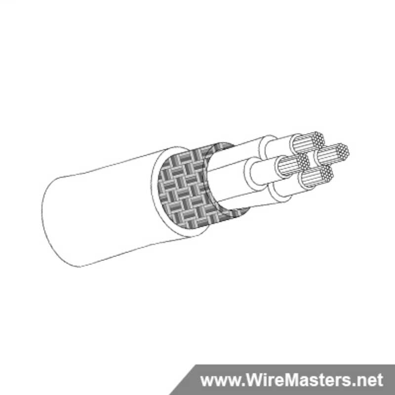 M27500-24WN4N24 is a 4 conductor cable with NICKEL COATED Cu ROUND shielding and Teflon and Polyimide tapes jacket with an M22759/90 inner conductor